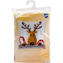 "Vervaco Needlepoint Cushion Top Kit 16""X16""-Reindeer With A Red Scarf - $29.27"