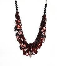 Tourmaline, Pink Opal, Rose Quartz and Garnet Necklace with Mauve Pearls  - $475.00