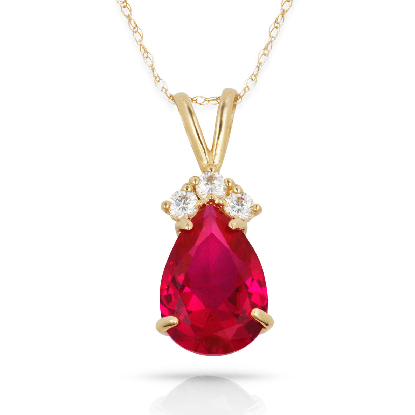 3.70 CT  Ruby Pear Shape 4 Stone Gemstone Pendant & Necklace 14K Y Gold