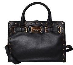 Michael Kors Hamilton Black Leather Rock & Roll Gold Stud Satchel Tote Bag Nwt! - $214.00