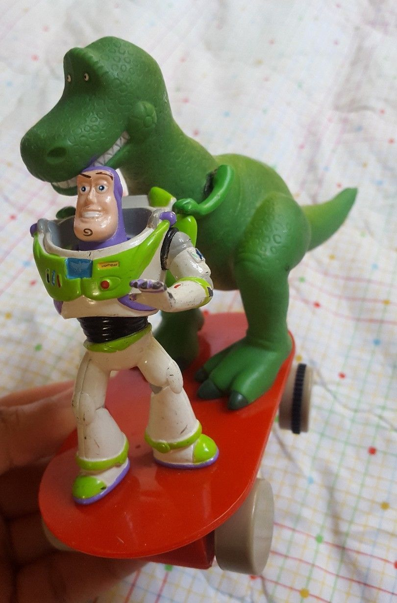 Disney Pixar Toy Story Rex Action Figure Dinosaur + Buzz Lightyear on skate rare