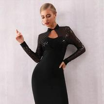 Long Sleeve Sexy Black Sequin Lace Club Party Dress image 3
