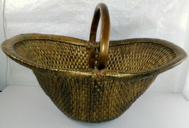 Vintage Chinese Willow Market Basket w/ Wooden Handle image 1