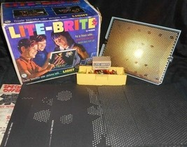 VINTAGE 1967 LITE LIGHT BRITE BRIGHT TOY IN BOX W/ PEGS & 8 UNUSED PAPER... - $79.93