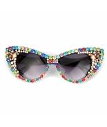 New Fashion Oversized Sunglasses Women Luxury Colorful Rhinestone Vintag... - $29.99