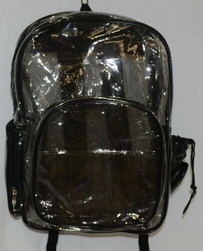 Unbranded Item Clear Netted Backpack Black Trim  Large Five Pockets