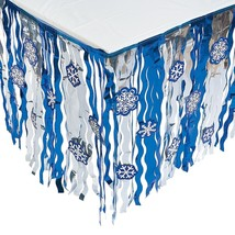 """Foil Snowflake Tableskirt with Cutouts Christmas Decorations (9 ft x 29"""") - $12.34"""