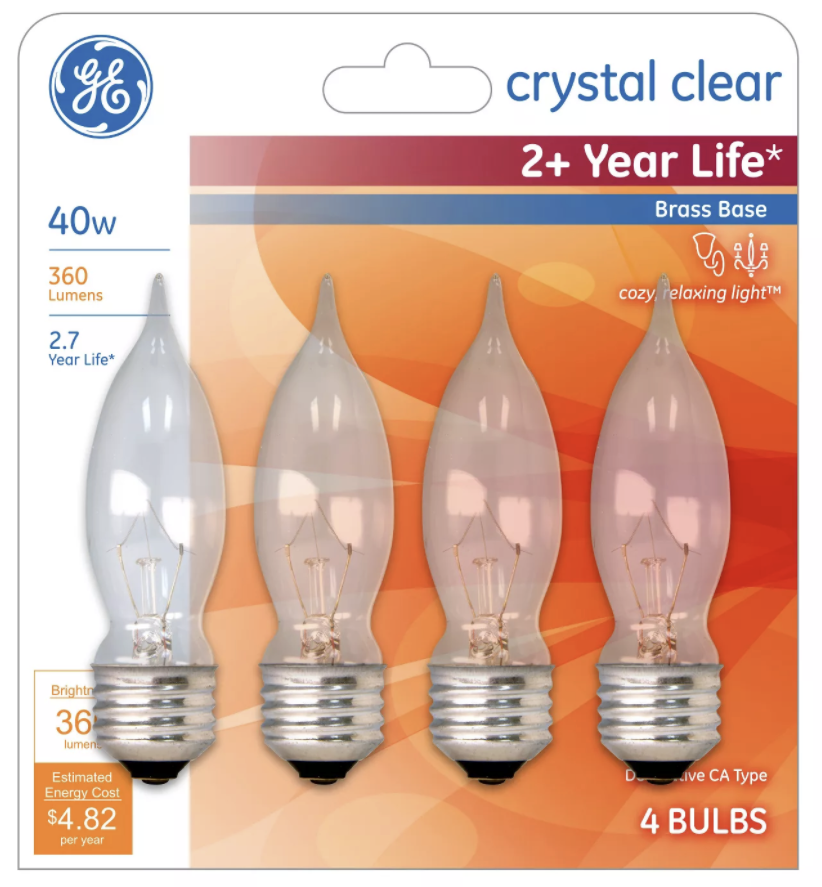 2 General Electric 40W 4pk CA Long Life Incandescent Chandelier Light Bulb White
