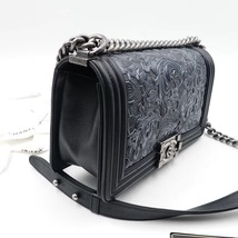 AUTHENTIC CHANEL BLACK Limited Edition Embroidery Leaf Medium Boy Flap Bag image 4