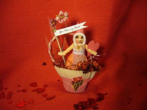Vintage Inspired Spun Cotton Candy Cup Valentine Piece