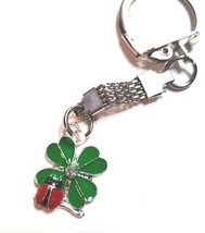 shamrock with ladybird with enamel finish, keychain keyring  ideal gift