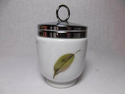 Vtg Royal Worcester Jelly Jam Jar egg coddler England peach fruit Chrome Lid