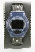 Fossil Watch Mens Blue Plastic Gray Leather Chron Alarm Light Date 100m ... - $25.05