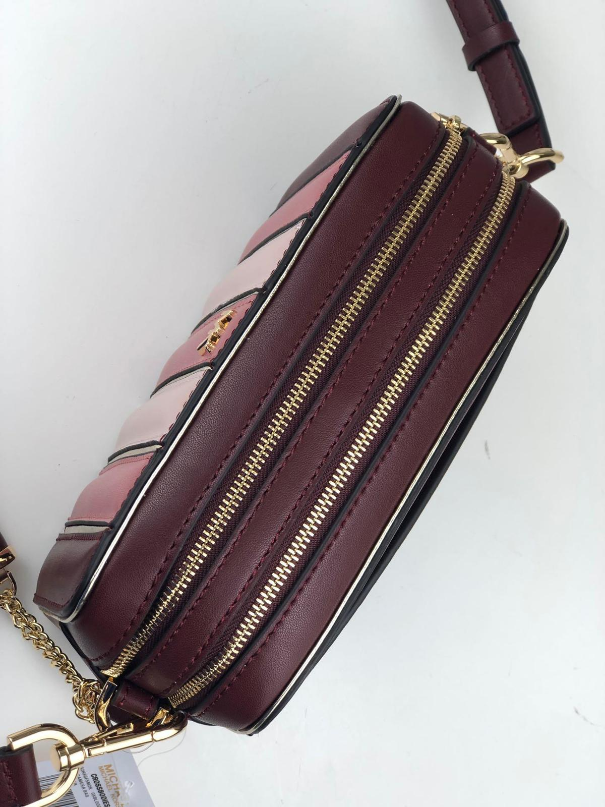 Michael Kors Small Quilted Tri-Color Leather Camera Bag OX Blood Multi Authentic