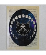 Wiccan Black Cat Familiar Moon Phases Dictionary Page Art Print - $11.00