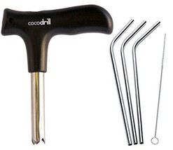 CocoDrill Coconut Opener Tool + 3 Reusable Straws Stainless Steel Drinking - $13.84