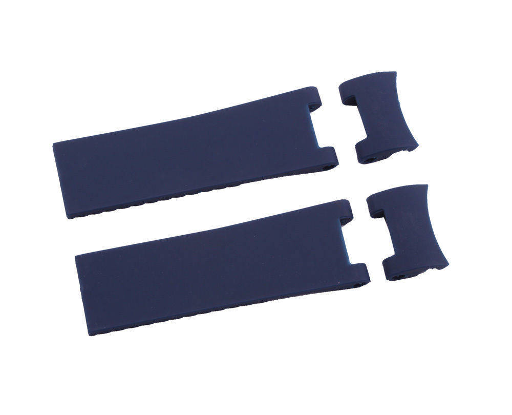 22mm Black Blue Silicone Rubber Diver Watch Strap Band For ULYSSE NARDIN MARINE