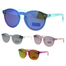 Kids Size Keyhole Shield Horn Rim Color Mirror Round Sunglasses - $9.95