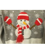 Vintage Hooked Up Ugly Christmas Sweater size Small Snowman w/Carrot Gra... - $24.50