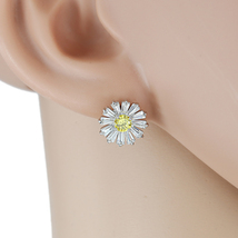 UE- Floral Inspired Silver Tone & Swarovski Style Crystal Designer Earrings - $17.99