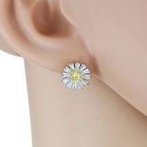 UE- Floral Inspired Silver Tone & Swarovski Style Crystal Designer Earrings - $17.99