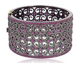 Designer Victorian Inspired 10.05Ct Rose Cut Diamond Silver Cuff Bracele... - $1,785.16