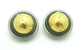 LCI Liz Claiborne Globe Silver Gold Tone Round Clip Earrings Vintage - $19.79