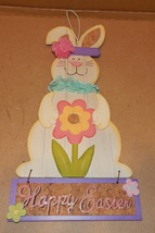"""Easter Wood & Wire Signs Bunnies 16"""" x 7"""" Happy Easter Welcome Friends 154D - $12.49"""