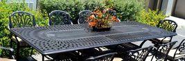 """11 piece aluminum outdoor dining set rectangle Santa Clara extension table 132"""" image 3"""