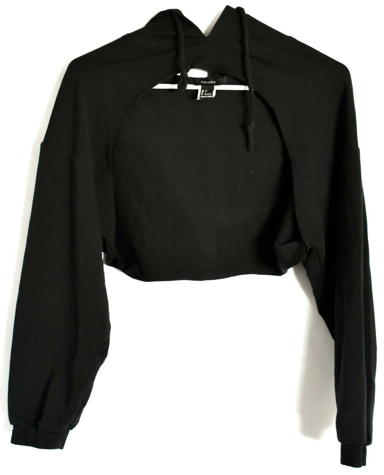 Forever 21 Black Open Bust Cut Out Front Long Sleeve Hooded Hoodie Top Size S