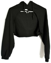 Forever 21 Black Open Bust Cut Out Front Long Sleeve Hooded Hoodie Top Size S image 1