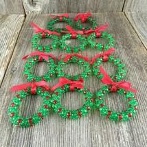 Vintage Wreath Beaded Christmas Ornaments Handmade Plastic Set Lot Green... - $36.62