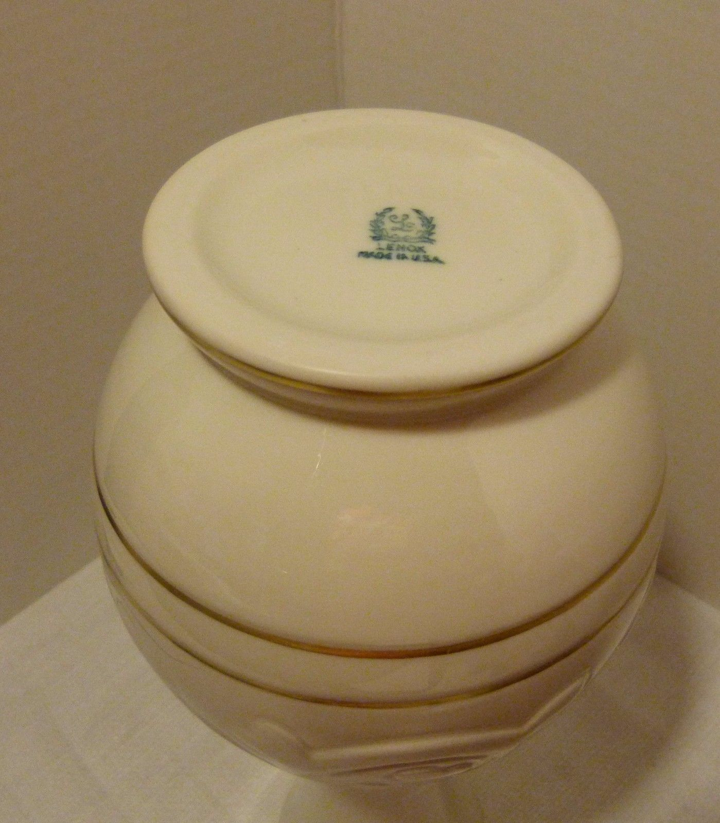 Lenox USA Rare Ivory and Gold Trim Vase Pattern 2078 Blue/Green Mark 1931-1953