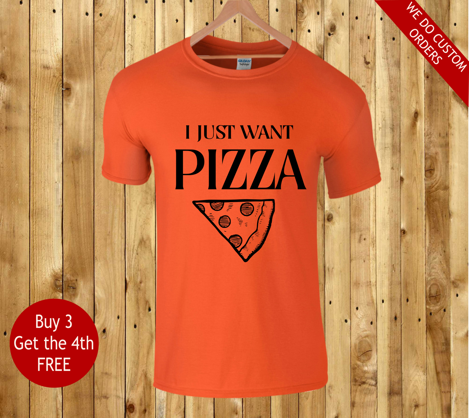 Gift T Shirt For Pizza Fan I Just Want Pizza Printed