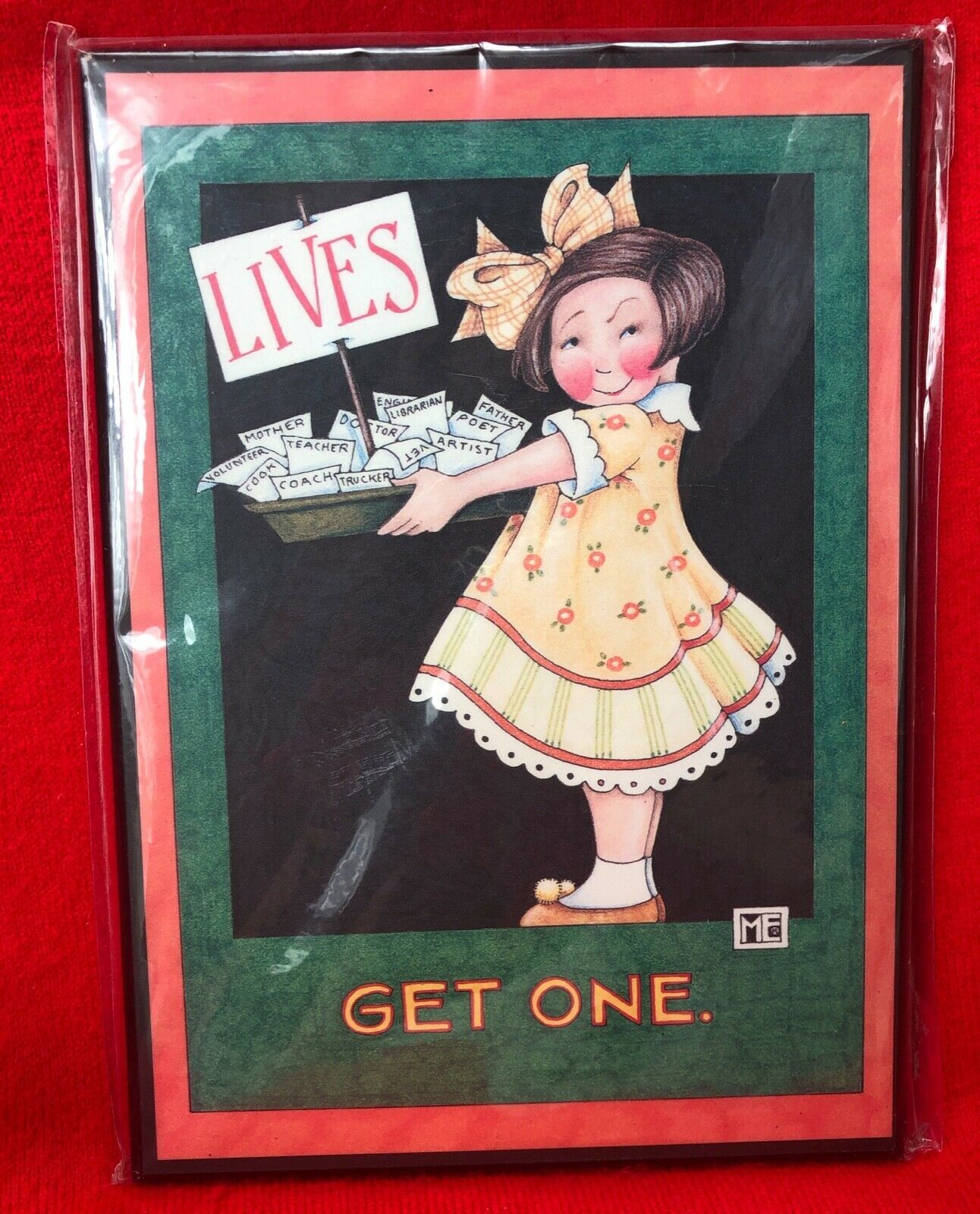 """Mary Engelbreit Wall Hanging Picture Plaque Art LIVES GET ONE 8.5"""" x 6"""""""