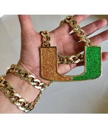 "Miami Hurricanes Large Turnover Chain Necklace 14K Gold GP 15mm 36"" Cuban Link - $32.71"