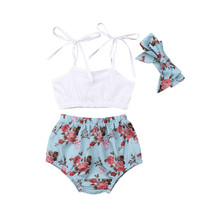 0 24M Summer Toddler Baby Girl Clothes Sling Sleeveless Crop Tops Floral... - $10.99