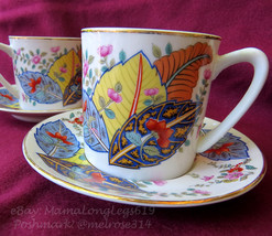 2 Tobacco Leaf Cup & Saucer Sets Genus Nicotina Fine China by Mann Gold ... - $27.70