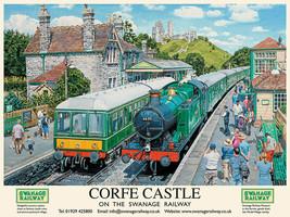 Corfe Castle Steam Train Swanage Railway Station Large Metal/Steel Wall ... - $15.36