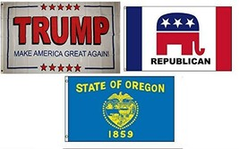 ALBATROS 3 ft x 5 ft Trump White #2 with Republican with State of Oregon... - $35.52