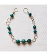 Sterling Silver and Malachite Bracelet with Infinity Links - $30.00