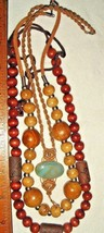 Vtg Bohemian Mod 1960's Wood Stone Suede Macrame Carved Bead Beaded Necklace Lot - $237.99
