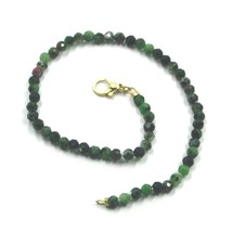 """18K YELLOW GOLD BEADED BRACELET 7.3"""", FACETED GREEN ZOISITE AND RED RUBY 3.5mm image 1"""