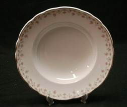 "Old Vintage Hudson by Homer Laughlin 9"" Rim Soup Bowl Pink Roses Rim Gold Trim - $14.84"