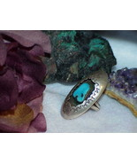 TURQUOISE NATURAL NUGGET STERLING RING NAVAJO SZ 5.5 Vintage Shadow Box ... - $98.99