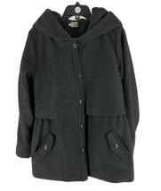 Bridge & Burn Women's Dark Gray Wool Blend Hooded Overcoat Size Large - $79.20