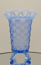 Vintage FENTON Glass Opalescent Blue Basket Weave Open Lace Edge Footed Vase - $19.95