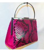 Made in Italy Bruno Magli Raspberry Pink Snakeskin Evening Frame Handbag... - $495.00