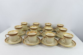 Set of 12 Vtg Mikasa Whole Wheat E8000 Japan Coffee Cups Mugs and Saucers Plates - $98.95