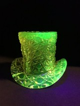"Vaseline Glass Top Hat by Fenton 3 3/4"" Cracked - $43.56"